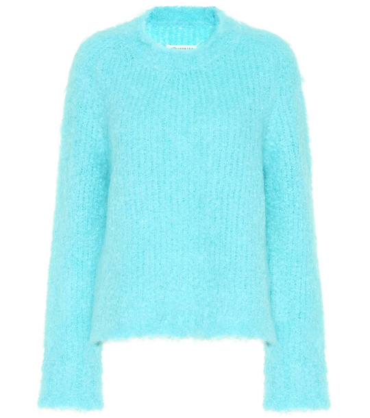 Maison Margiela Wool and mohair-blend sweater in turquoise