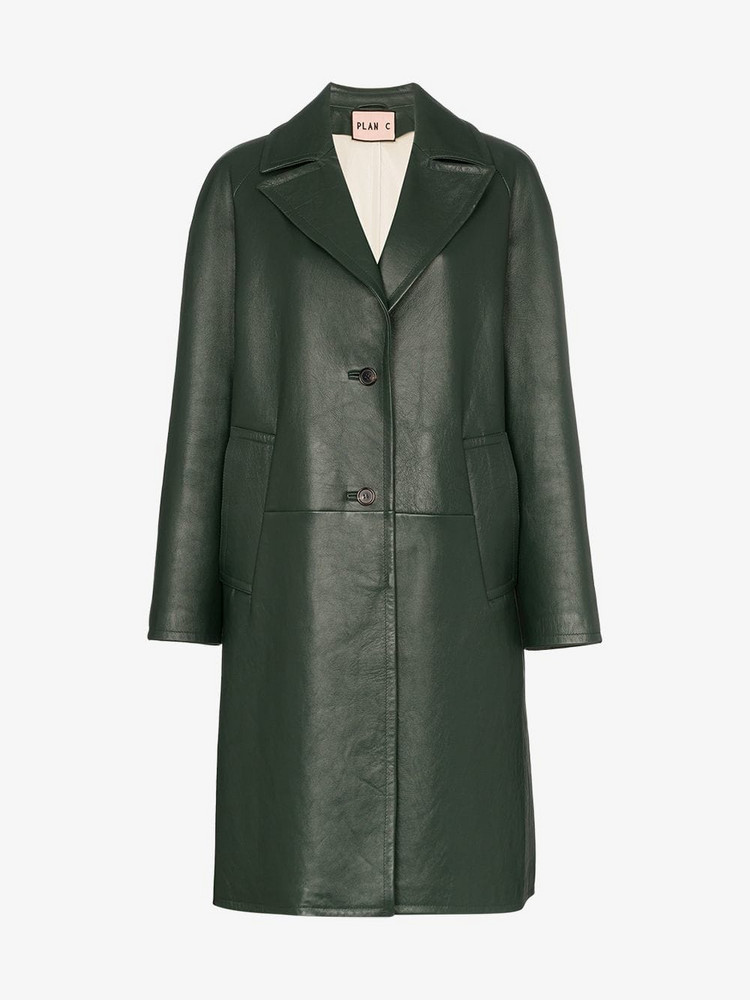 Plan C Notch lapel leather coat in green