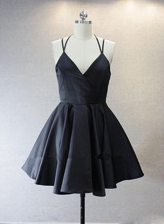 Lovely Black Straps V-neckline Short Homecoming Dresses, Short Prom Dresses, Cute Party Dresses