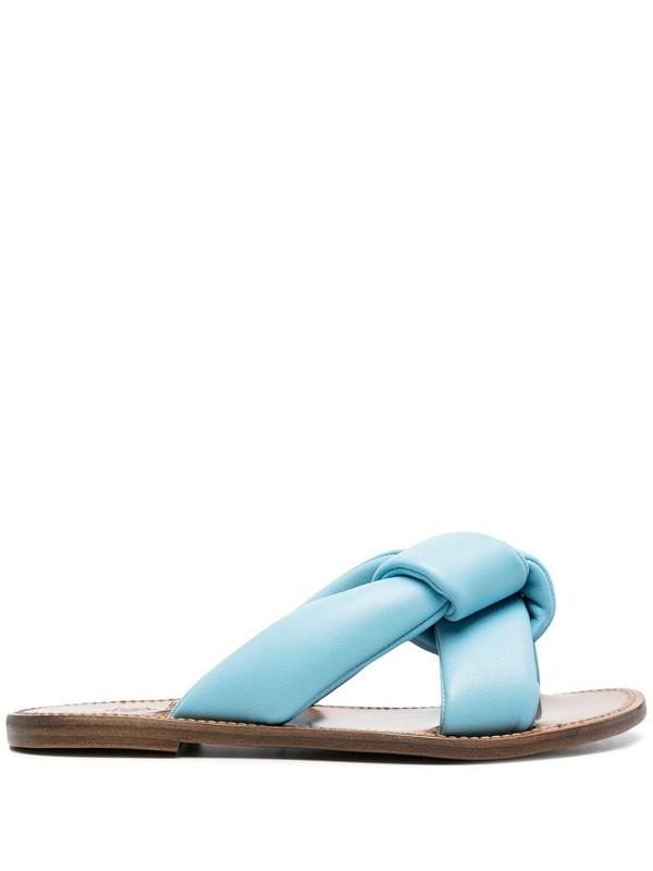 Silvano Sassetti crossover strap leather sandals in blue