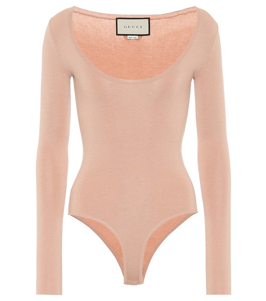 Gucci Cashmere and silk-blend bodysuit in pink