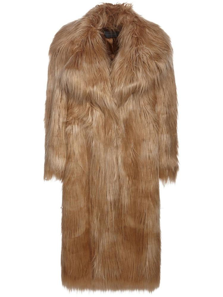 ALBERTA FERRETTI Oversize Faux Fur Long Coat in camel