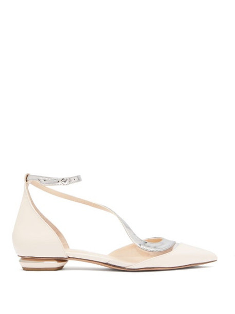 Nicholas Kirkwood - S Illusion Metallic Leather Flats - Womens - Pink Silver