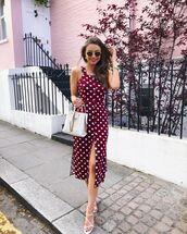 dress,red dress,midi dress,sleeveless dress,polka dots,white sandals,white bag