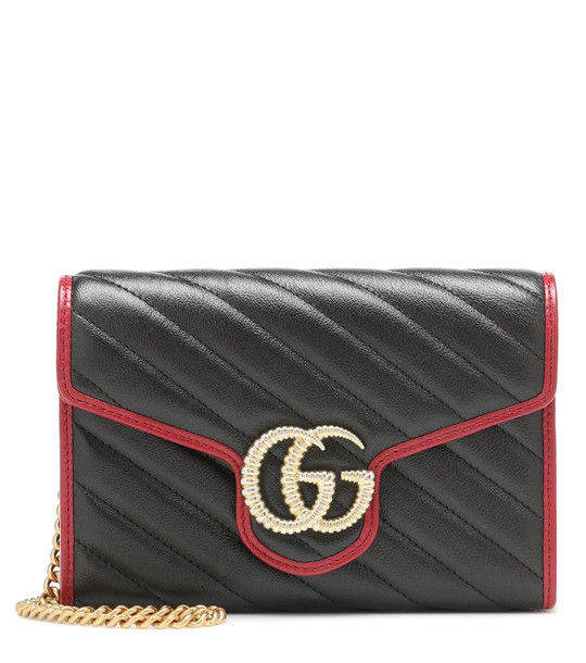 Gucci GG Marmont leather shoulder bag in black