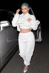 shoes,all white everything,pants,kylie jenner,kardashians,celebrity,crop tops,top
