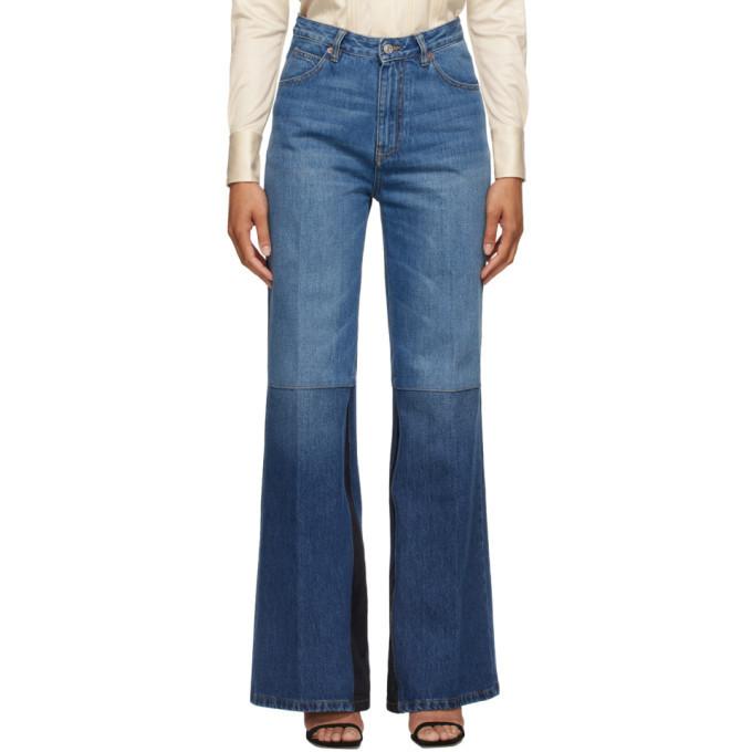 Victoria Beckham Blue Patchwork Flare Jeans in indigo