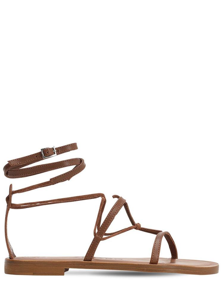 ÁLVARO 10mm Leather T-bar Sandals in beige