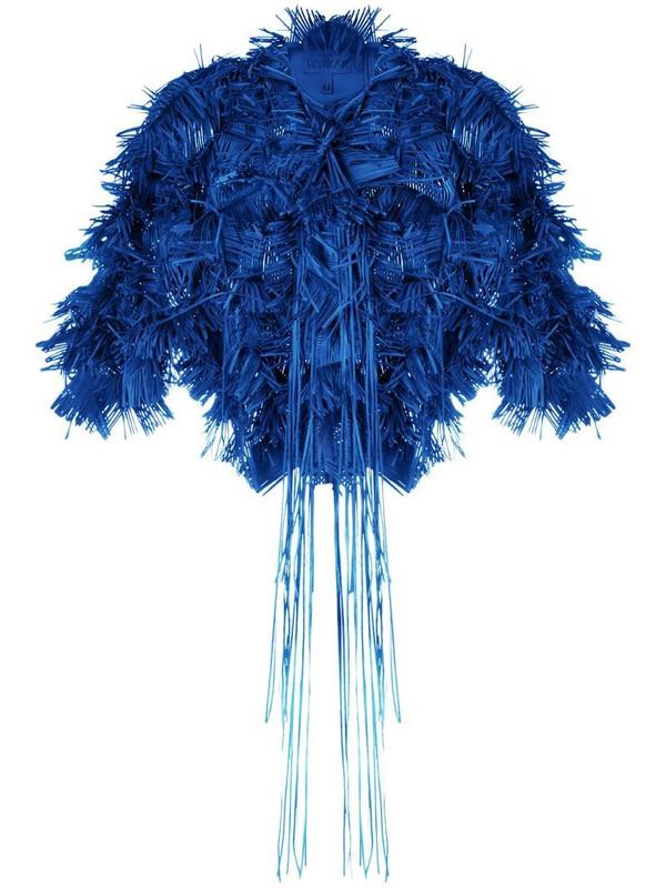 Paskal fringed cropped jacket in blue