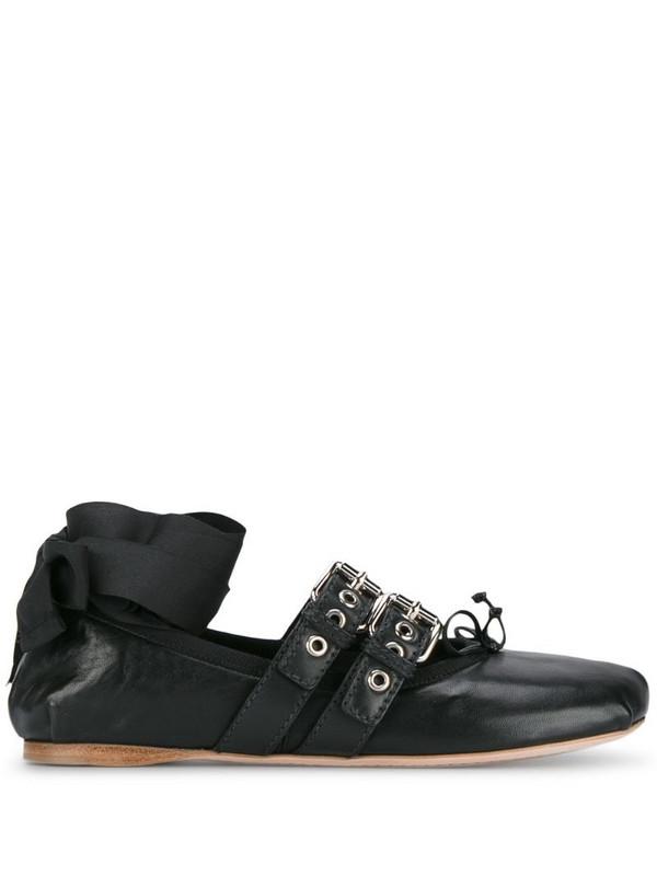 Miu Miu Black Leather Double Buckle ballerina flats