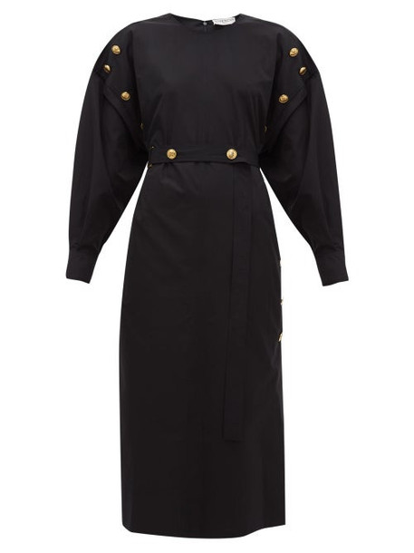 Givenchy - Belted Buttoned Cotton Poplin Midi Dress - Womens - Black