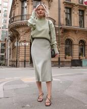 skirt,midi skirt,satin,sandal heels,turtleneck sweater,shoulder bag