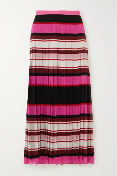 VALENTINO - Pleated Striped Silk-georgette Midi Skirt - Pink