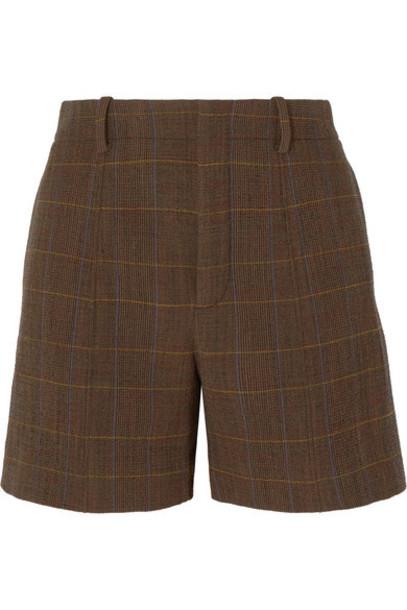 Chloé Chloé - Checked Wool-blend Shorts - Brown