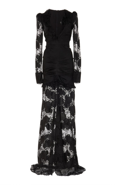 Alexis Lucasta Lace-Detailed Deep-V Maxi Dress in black
