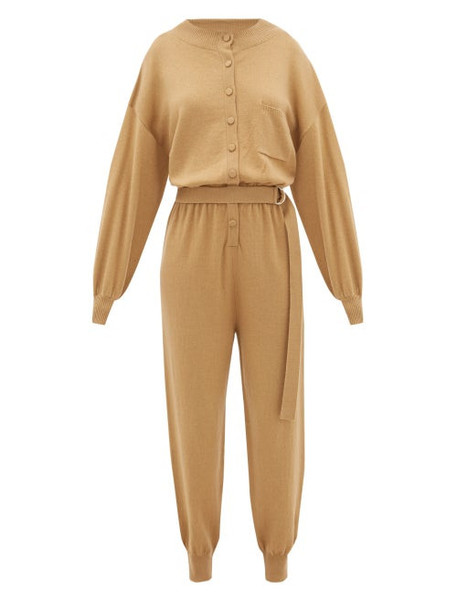 Cordova - Corvara Belted Wool-blend Jumpsuit - Womens - Camel