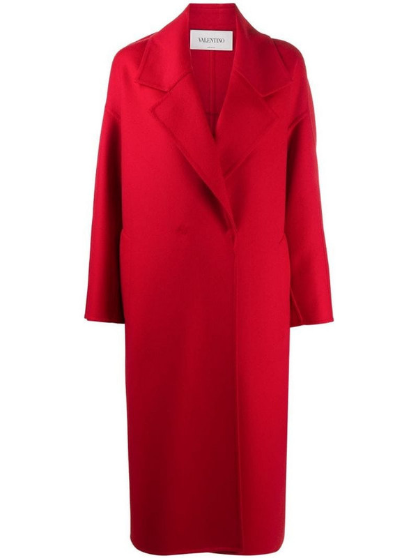 Valentino wraparound mid-length coat in red