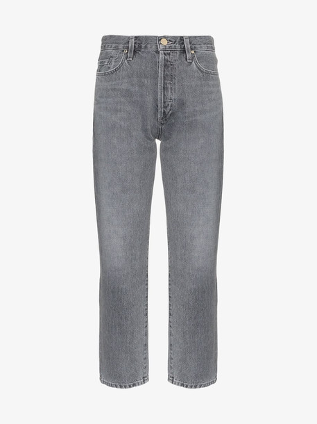 GOLDSIGN Cropped straight leg jeans in grey