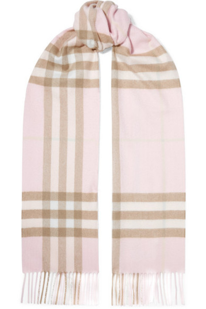 Burberry - Fringed Checked Cashmere Scarf - Pastel pink