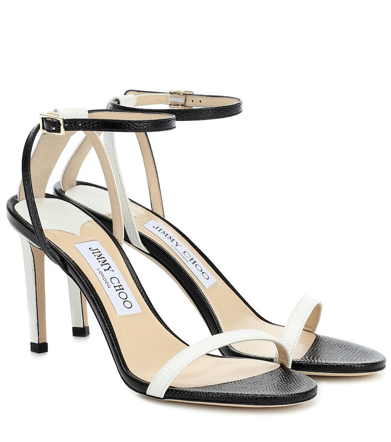 Jimmy Choo Minny 85 leather sandals in black