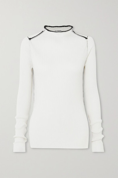 Jil Sander - Ribbed Cashmere And Silk-blend Sweater - Off-white