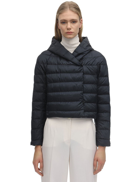 MAX MARA 'S Cropped Waterproof Nylon Down Jacket in blue