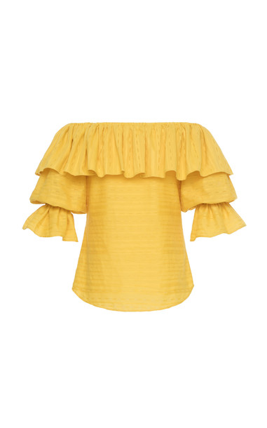 Lena Hoschek Arriba Off The Shoulder Blouse in yellow