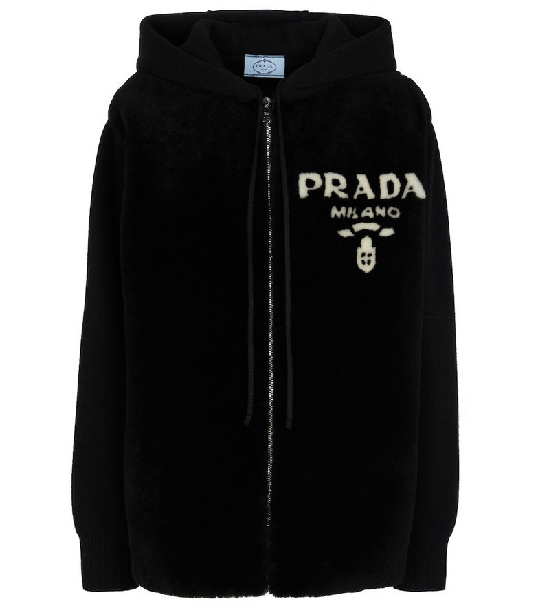 Prada Cashmere and shearling hoodie in black