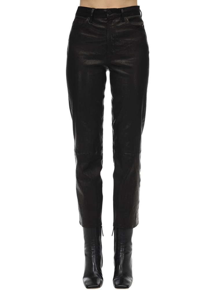 J BRAND Jules High Rise Straight Leather Pants in black