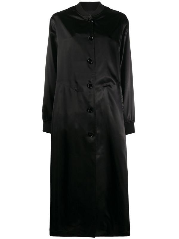 MM6 Maison Margiela logo print single-breasted coat in black