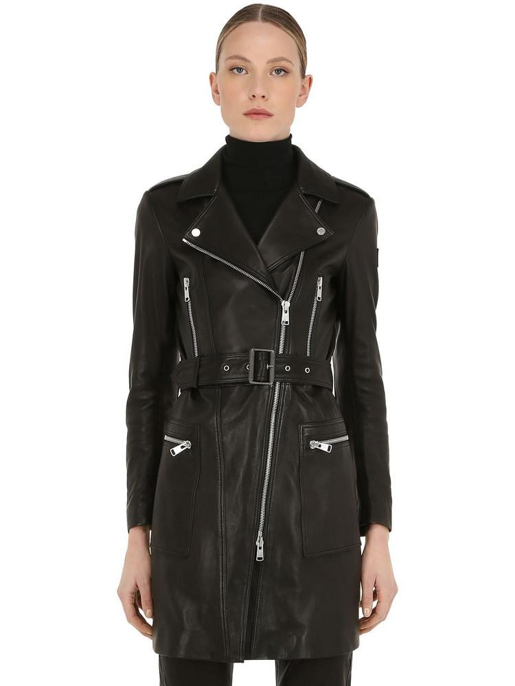 BELSTAFF Marvingt Leather Biker Coat in black