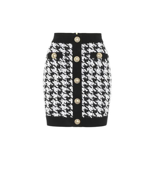 Balmain Houndstooth tweed miniskirt in black