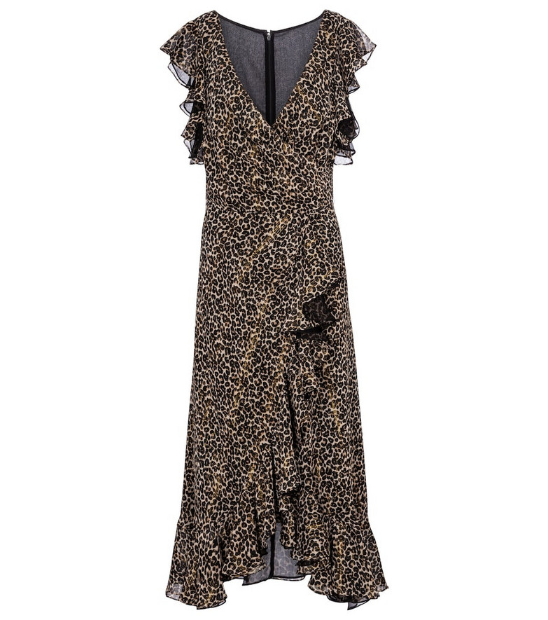 Costarellos Jolecia leopard-print chiffon wrap dress in brown