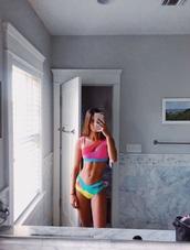 swimwear,colorblock,rainbow,cut-out swimsuit,bikini,bikini bottoms