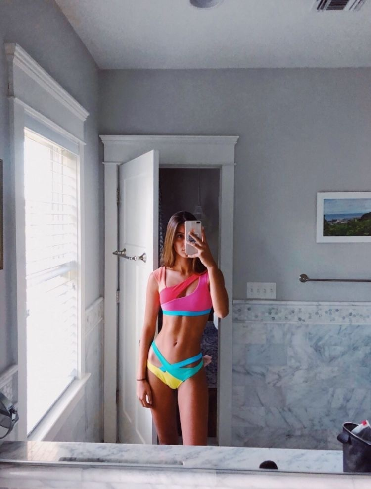 swimwear colorblock rainbow cut-out swimsuit bikini bikini bottoms