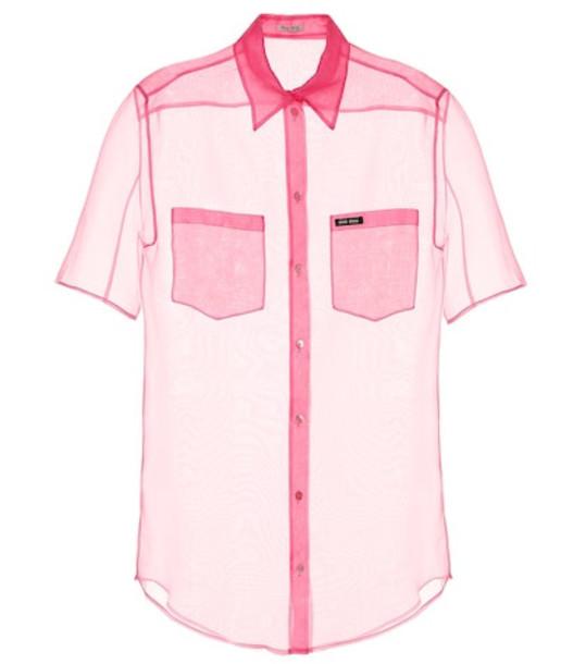 Miu Miu Silk organza shirt in pink