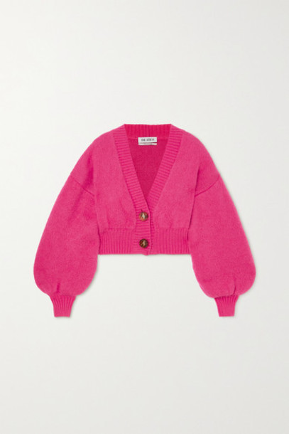 The Attico - Cropped Mohair-blend Cardigan - Pink