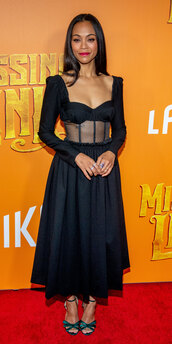 dress,zoe saldana,black dress,midi dress,celebrity,bustier dress,see through