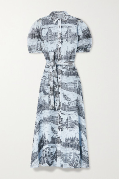 Derek Lam 10 Crosby - Faye Belted Printed Crepe De Chine Midi Shirt Dress - Light blue
