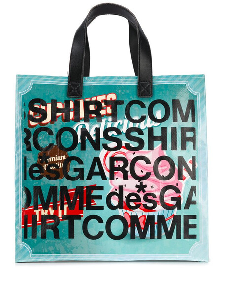 Comme Des Garçons Shirt logo-print shopping tote in purple