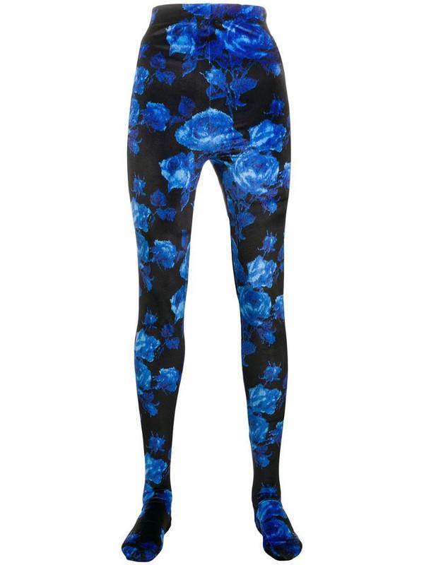 Richard Quinn footed floral-print leggings in blue