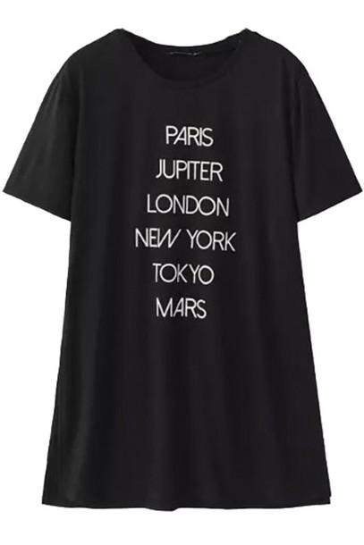 t-shirt paris london tokyo black shirt