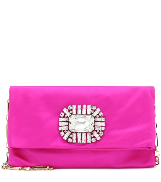 Jimmy Choo Exclusive to Mytheresa – Titania embellished satin clutch in pink