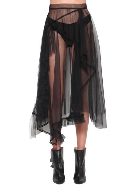 ACT N°1 Ruffled Tulle Midi Skirt in black