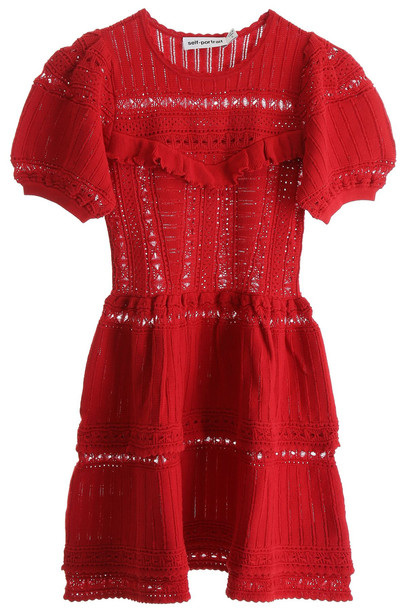 self-portrait Knit Mini Dress in red