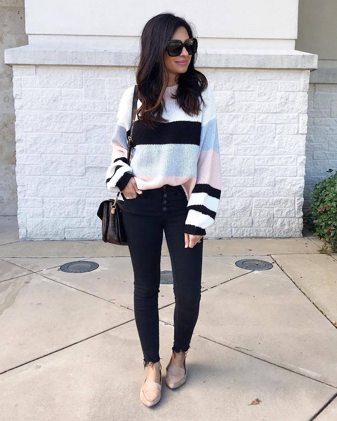 sweater knitted sweater stripes cropped jeans black skinny jeans flats crossbody bag