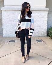 sweater,knitted sweater,stripes,cropped jeans,black skinny jeans,flats,crossbody bag