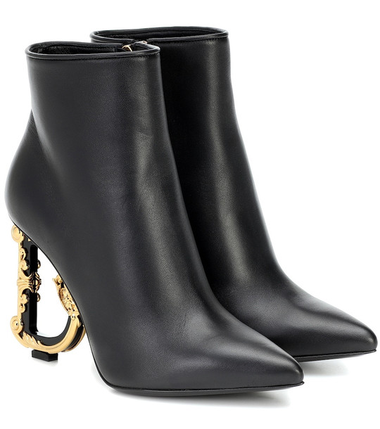 Dolce & Gabbana Devotion leather ankle boots in black