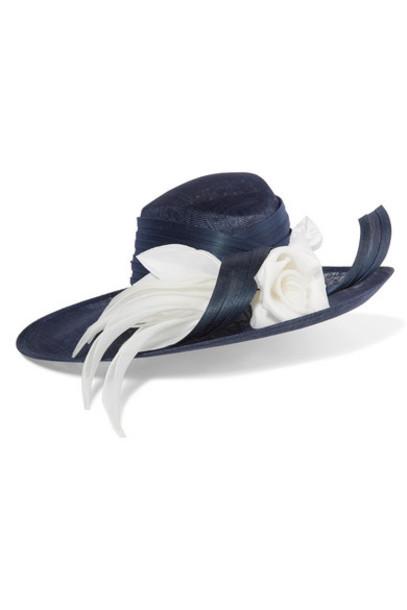 Philip Treacy - Buntal And Organdie-trimmed Sinamay Straw Hat - Navy