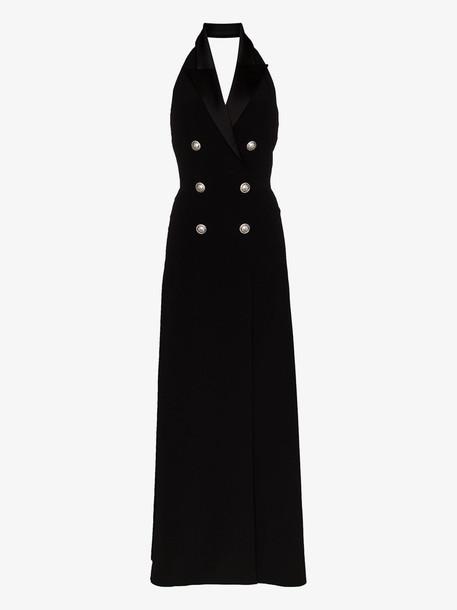 Balmain halter neck tuxedo maxi dress in black